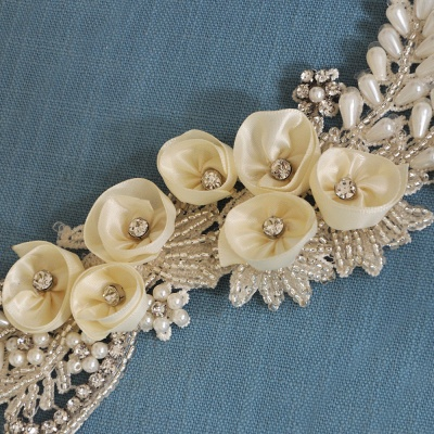 Handmade Flower Pearl Wedding Sash with Beadings_8
