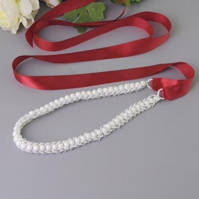 Satin Beadings Wedding Sash with Pearls_5