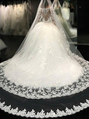 Cathedral Train Applique Scoop Long Sleeves Lace Tulle Puffy Wedding Dresses_1