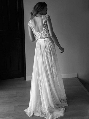 Alluring Tulle Sweep Train Scoop Sleeveless Beaded Wedding Dresses_3