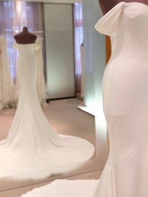 Short Sleeves Satin Sheath Wedding Dresses | Column Court Train Off-the-Shoulder Bridal Gowns_3
