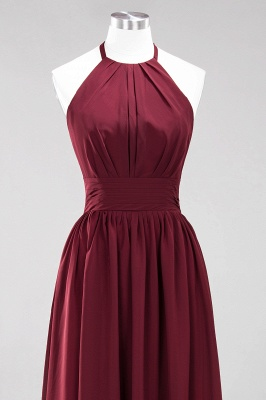 Simple A-Line Chiffon Bridesmaid Dresses | Halter Ruched Hollow Back Maid of The Honor Dresses_10