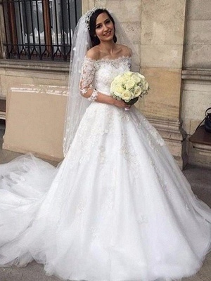 Elegant Off-the-Shoulder Tulle 3/4 Sleeves Chapel Train Puffy Applique Wedding Dresses_1