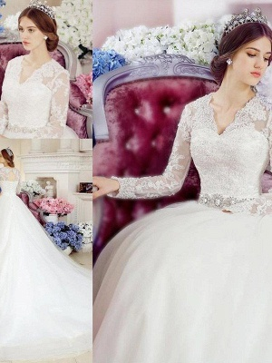 Glamorous Cathedral Train Long Sleeves Applique V-neck Lace Tulle Wedding Dresses_3