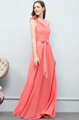 A-line  One-Shoulder Sleeveless Floor-Length Bridesmaid Dress with Bow Sash_3
