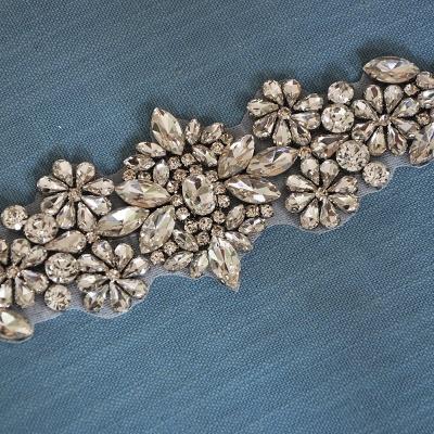 Satin Flowers Pattern Wedding Sash with Pearls_3