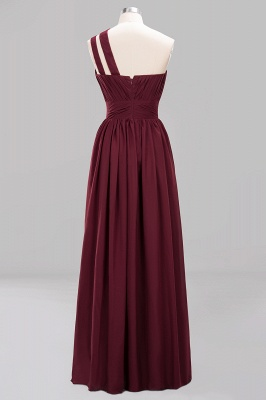 Elegant A-Line Burgundy One-Shoulder Sleeveless Ruffles Floor-Length  Bridesmaid Dresses_8