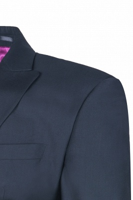 Custom Made Single Breasted Peak Lapel Dark Navy Best Men Groomsmen_5
