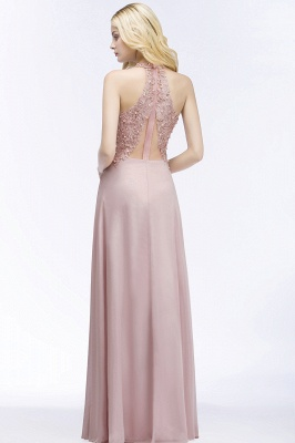 A-line  Appliques V-neck Sleeveless Floor-Length Bridesmaid Dresses with Pearls_2