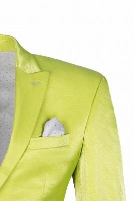 Sage Two Button Latest Design Peak Lapel Wedding Suit Back Vent_4