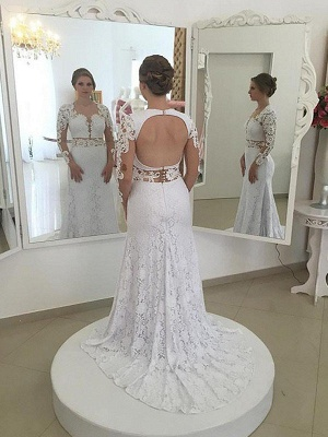 Sweep Train Long Sleeves Column Scoop Lace Wedding Dresses_1