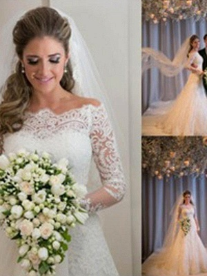 Dazzling Off-the-Shoulder Tulle Long Sleeves Sexy Mermaid Lace Wedding Dresses_4
