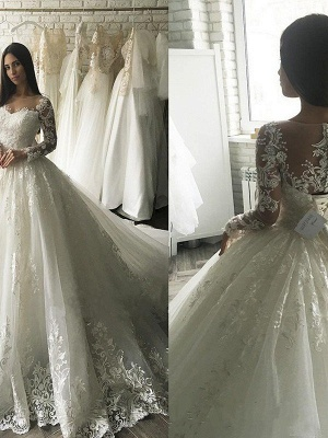 Elegant Applique Court Train Puffy Scoop Tulle Long Sleeves Wedding Dresses_1