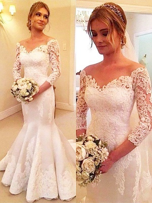 Court Train Off-the-Shoulder 3/4 Sleeves Sexy Mermaid Satin Lace Wedding Dresses_1