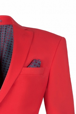 Red Peak Lapel Single Breasted High Quality Wedding Prom Suits_4