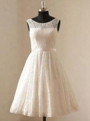Gorgeous Knee-Length Sleeveless Scoop Ribbon Lace Wedding Dresses_1