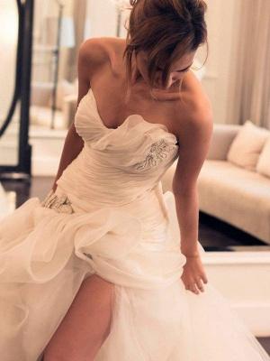 Beaded Organza Puffy Wedding Dresses   Sweep Train Sweetheart Sleeveless Bridal Gowns_3