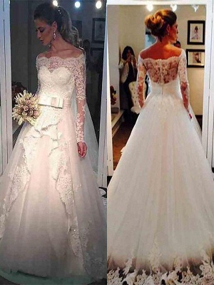 Stunning Long Sleeves Puffy Off-the-Shoulder Tulle Wedding Dresses_1