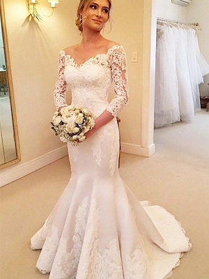 Court Train Off-the-Shoulder 3/4 Sleeves Sexy Mermaid Satin Lace Wedding Dresses_3