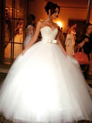 Stunning Bowknot Tulle Sleeveless Wedding Dresses | Floor-Length Puffy Sweetheart Bridal Gowns_1