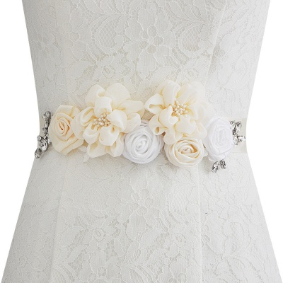 Fashion Chiffon Flowers Wedding Sash with Beadings_1