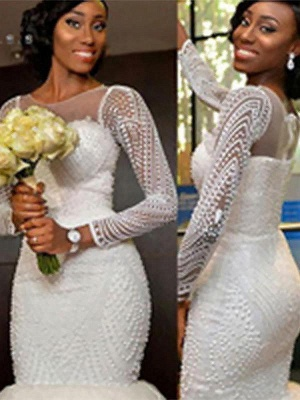 Sleek  Sweep Train Beaded Scoop Long Sleeves Sexy Mermaid Tulle Wedding Dresses_1
