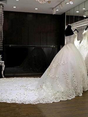 Sweetheart Sleeveless Cathedral Train Tulle Puffy Rhinestone Wedding Dresses_4
