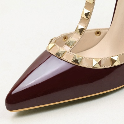 Fashion Pionted Toe High Heel Buckle Hollowout Wedding Shoes with Rivets_3