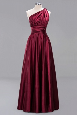 Elegant Long Burgundy Satin One Shoulder Bridesmaid Dresses_1