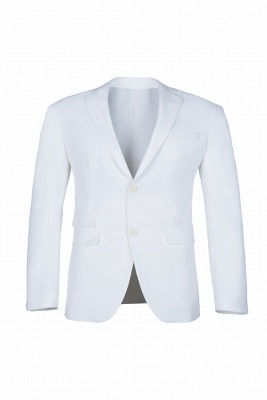 High Quality White Back Vent Two Button Casual Suit Groomsmen Peak Lapel_1