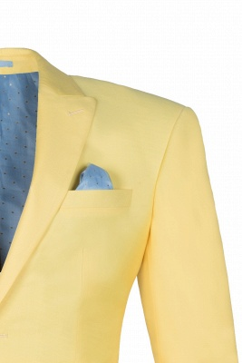 Noched Lapel Two Button Single Breasted Daffodil Wedding Suit Slim Fit_4