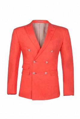 High Quality Latest Design Watermelon Peak Lapel Wedding Suit Back Vent_1