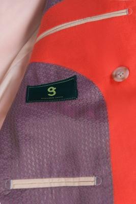 High Quality Latest Design Watermelon Peak Lapel Wedding Suit Back Vent_6