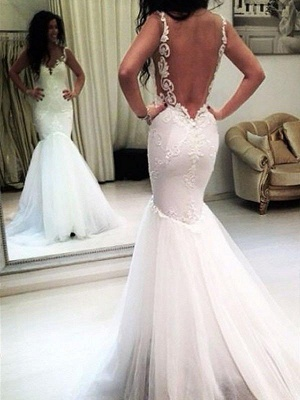 Stunning Sleeveless Chapel Train Tulle Spaghetti Straps Applique Sexy Mermaid Wedding Dresses_3