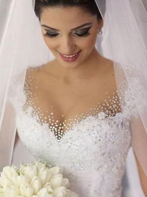 Floor-Length Tulle Beaded Puffy Sleeveless V-neck Wedding Dresses_3