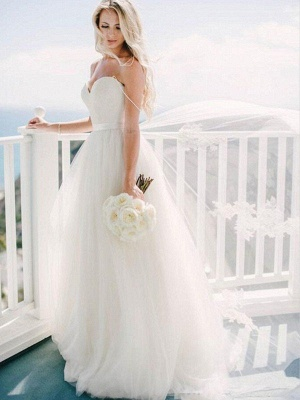 Glamorous Tulle Sweetheart Sweep Train Puffy Sleeveless Wedding Dresses_4
