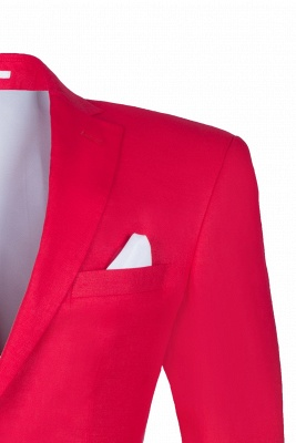 Popular Stylish Design Back Vent Peak Lapel Red Best Men Groomsmen_4