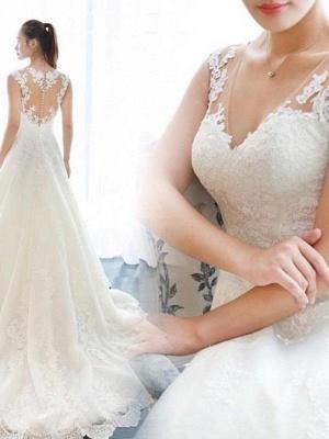 Alluring Court Train V-neck Applique Sleeveless Lace Wedding Dresses_3