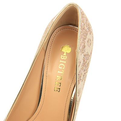 Fashion Pionted Toe High Heel Lace Wedding Shoes_7