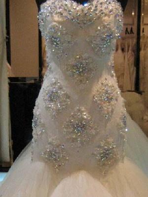 Beaded Sleeveless Tulle Sweetheart Court Train Sexy Mermaid Wedding Dresses_4