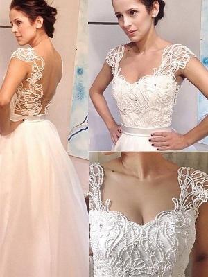 Sweep Train Sleeveless Tulle Square Neckline A-line Wedding Dresses_1