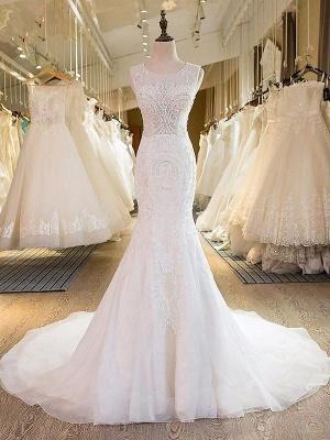 Charming Tulle Sweep Train Sexy Mermaid Wedding Dresses_1