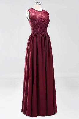 A-Line Chiffon Lace Bridesmaid Dresses | Scoop Sleeveless Wedding Party Dresses_9