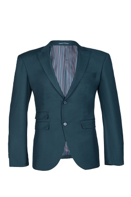 Dark Green Stylish Design Back Vent Peak Lapel Slim Fit Wedding Suit_1