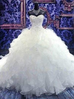 Sleek Chapel Train Beaded Sequin Puffy Sweetheart Sleeveless Organza Wedding Dresses_5