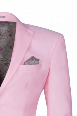 Peak Lapel Candy Pink Single Breasted Wedding Suit For Men_4