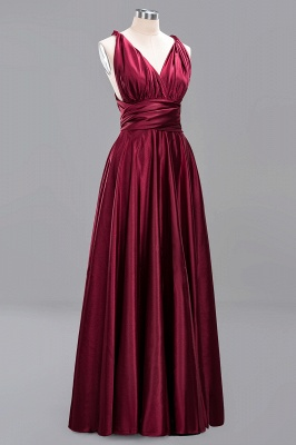 Elegant Long Burgundy Satin One Shoulder Bridesmaid Dresses_10