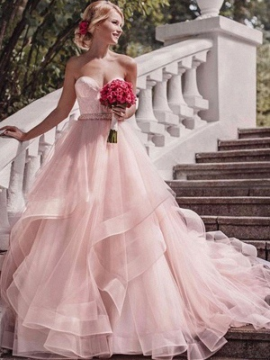 Court Train Sweetheart Layers Puffy Sleeveless Organza Wedding Dresses_1