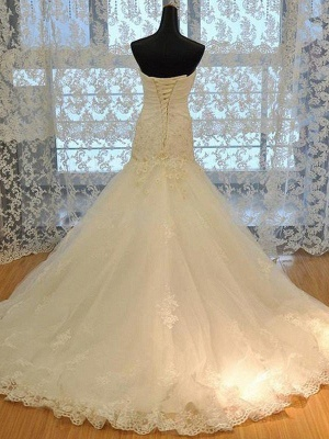 Applique Sweetheart Tulle Sleeveless Court Train Sexy Mermaid Wedding Dresses_3