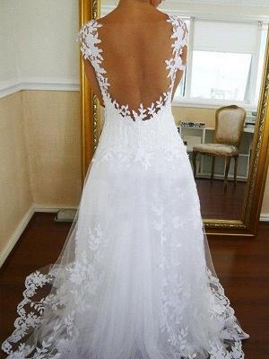 Sweep Train Sleeveless V-neck Lace Tulle Wedding Dresses_3
